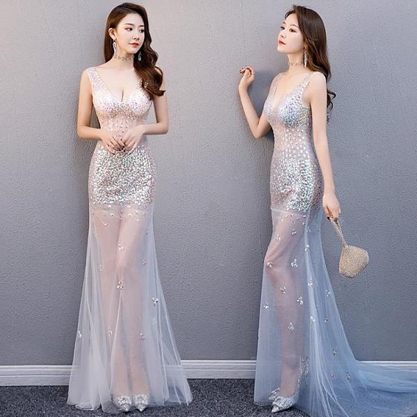 透視禮服 洋裝 夜店鉆飾約會晚深V 彩鉆透視裝長款網紗透明禮服桑拿會所長裙新款