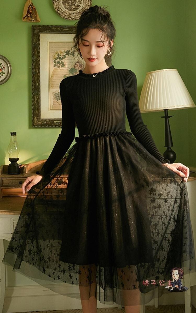 針織洋裝 長袖針織洋裝女秋冬季配大衣的內搭毛衣裙打底裙網紗修身冬裙子【居家家】