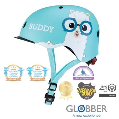 法國 GLOBBER哥輪步 ELITE 附三段警示燈 兒童戶外活動/運動防護安全帽XS~S-天空藍