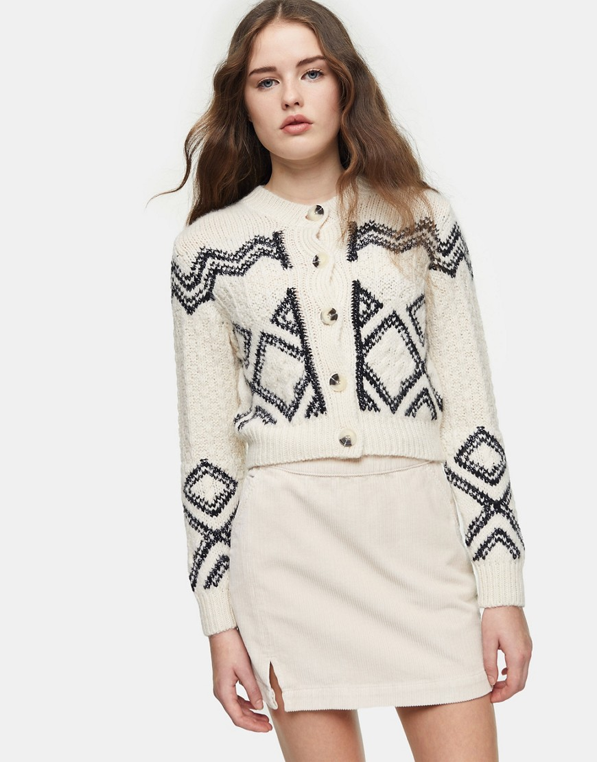 Topshop knitted pattern cardi-White