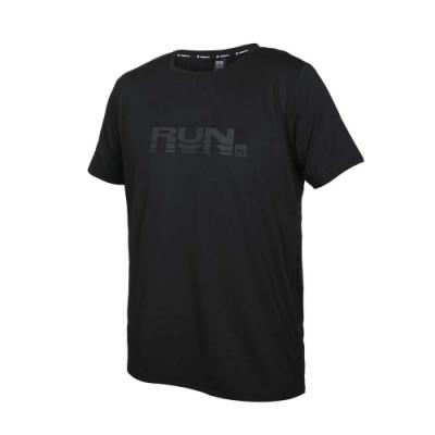 FIRESTAR 男彈性印花圓領短袖T恤-吸濕排汗 慢跑 路跑 運動 上衣 D1735-10 黑灰