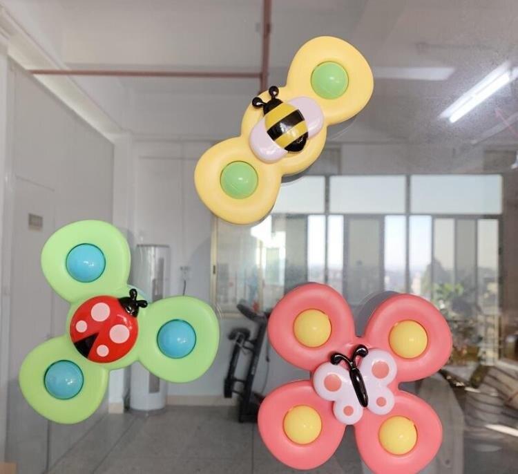 指尖陀螺 會轉動的花朵吸盤轉轉樂玩具趣味餐桌椅嬰兒兒童洗澡指尖陀螺