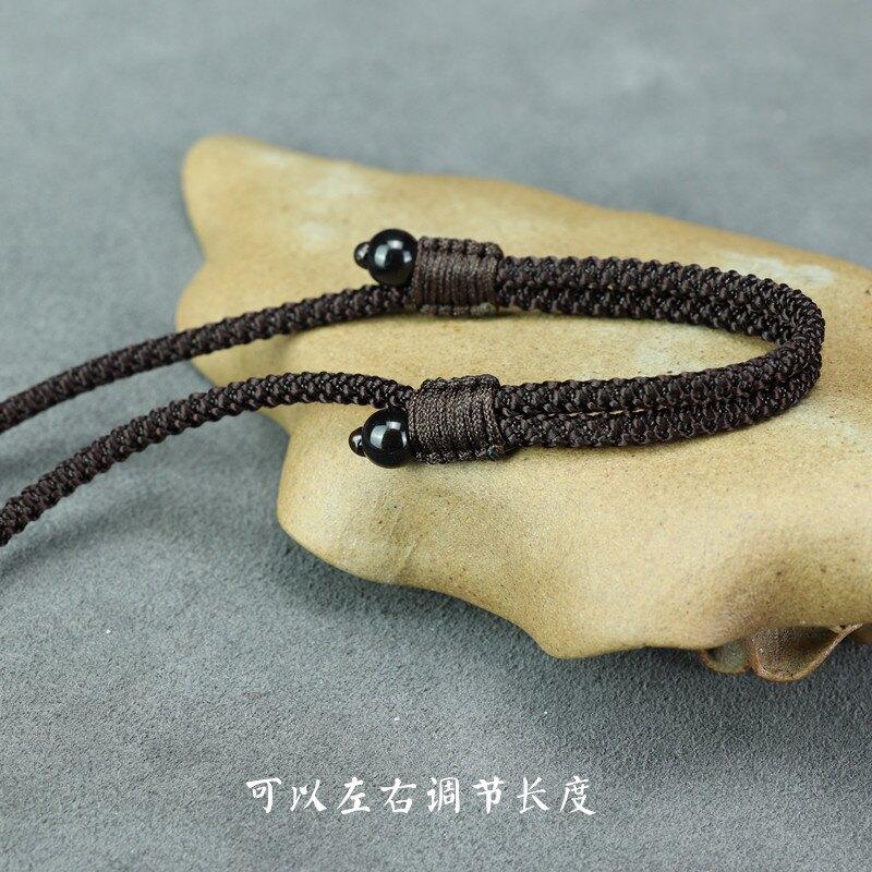 項鏈繩 黑曜石掛件繩水晶玉髓吊墜掛繩可調節繩男女掛墜繩配件繩子黑繩【TZ192】