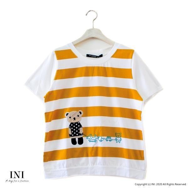 【INI】注目條紋、小熊拼布可愛好感上衣.黃色