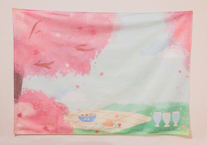 在櫻花樹下野餐掛布 可訂製 毛孩 寵物似顏繪