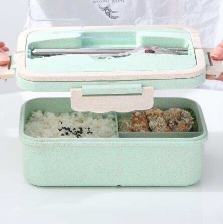 便當盒 小麥秸稈飯盒可微波爐加熱保溫帶蓋分格密封便攜便當盒學生上班族
