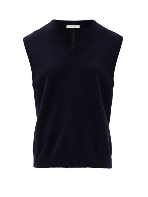 The Row - Cremona Sleeveless V-neck Merino-wool Sweater - Womens - Navy