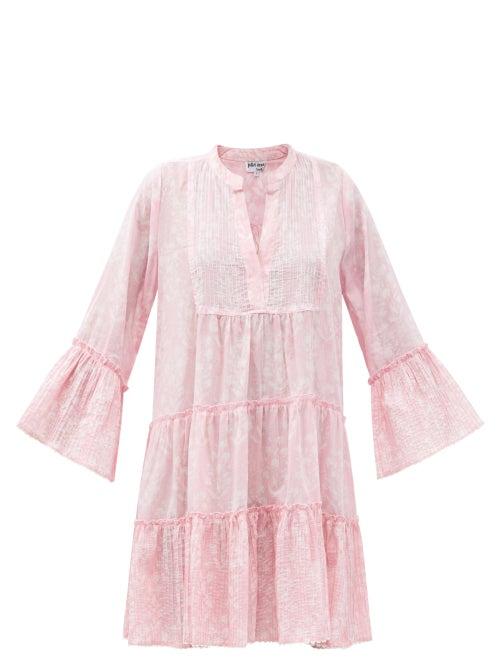 Juliet Dunn - Pintucked Floral-print Cotton Dress - Womens - Light Pink