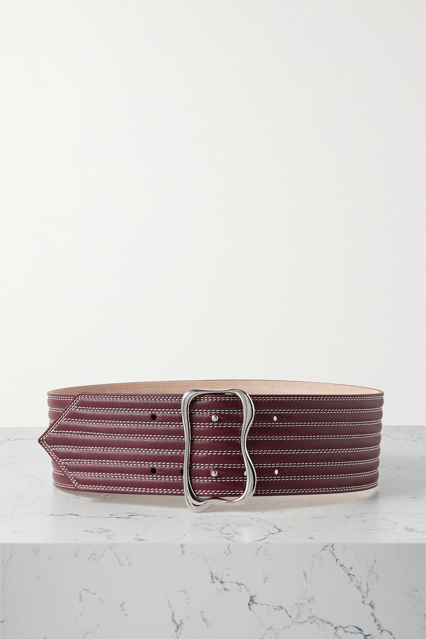 CHLOÉ - Topstitched Leather Waist Belt - Burgundy - L