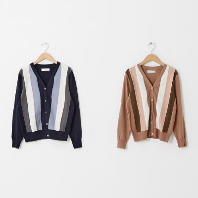 【KiKi】撞色開襟-女長袖針織衫(二色/魅力商品/版型適中)