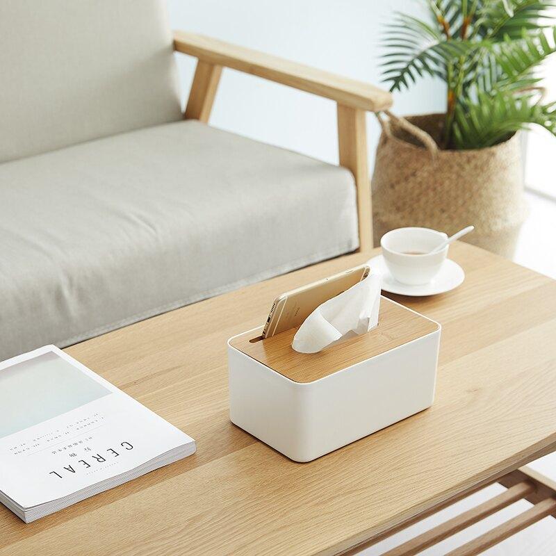 日式竹木紙巾盒創意簡約客廳家用抽紙盒餐巾盒遙控器收納盒卷紙盒