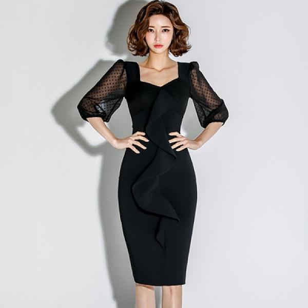 OL洋裝 禮服裙S-XL#春新款女士時尚顯瘦連身裙溫柔氣質拼紗連身裙 6315 H506快時尚