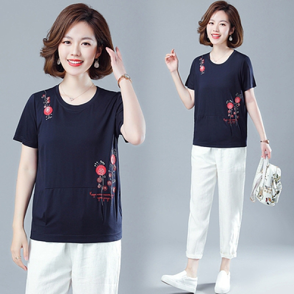 M-4XL胖妹妹短T~8906#短袖刺繡t恤女寬松大碼B057A衣時尚