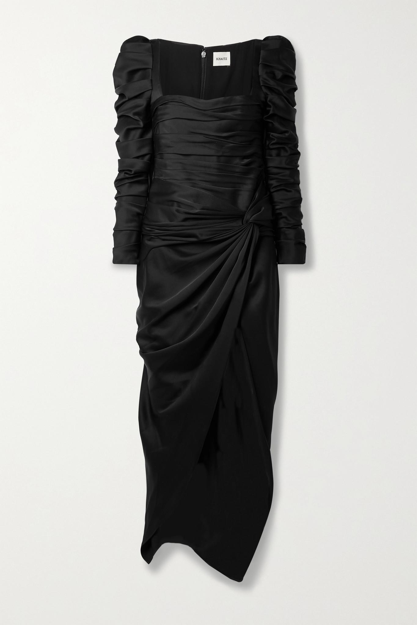 KHAITE - Shawna Twist-front Ruched Satin-crepe Maxi Dress - Black - US2