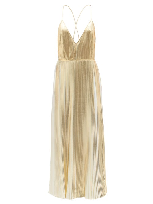 Valentino - V-neck Metallic Pleated-georgette Dress - Womens - Gold
