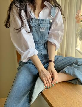 韓國空運 - Blue Faded Denim Overall Pants 牛仔褲