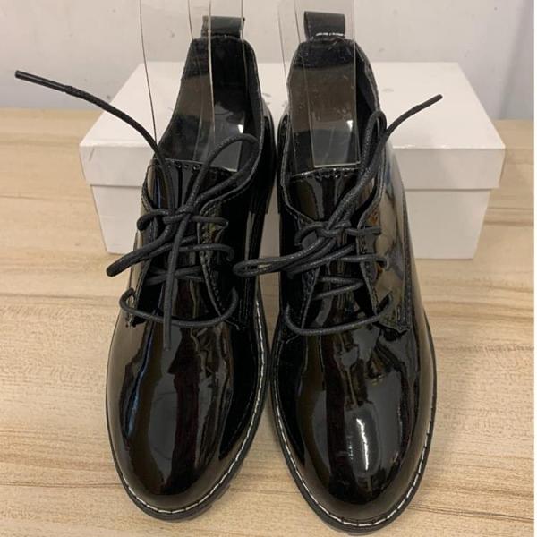 韓版復古學院風素面繫帶樂福鞋(24號/777-10606)