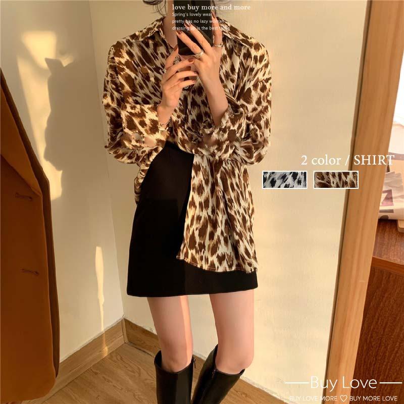 【買到戀愛】OOTD狂野性感豹紋雪紡微透膚襯衫【FA906】