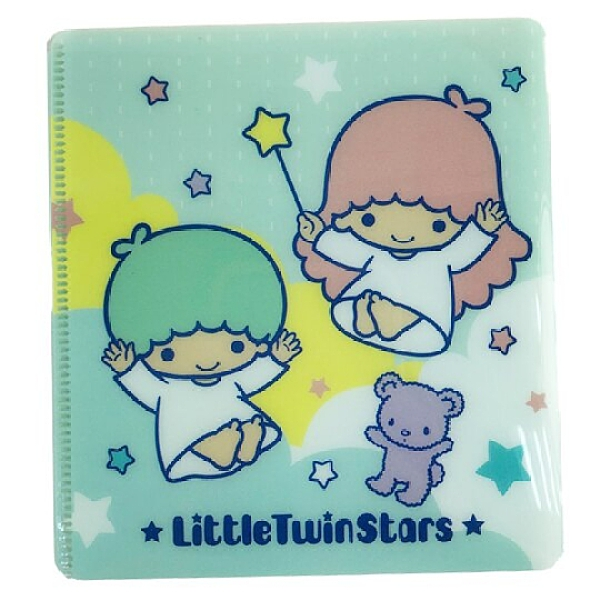 小禮堂 雙子星 塑膠折疊口罩夾 口罩包 口罩套 口罩收納 (綠 星星) 4710150-21903