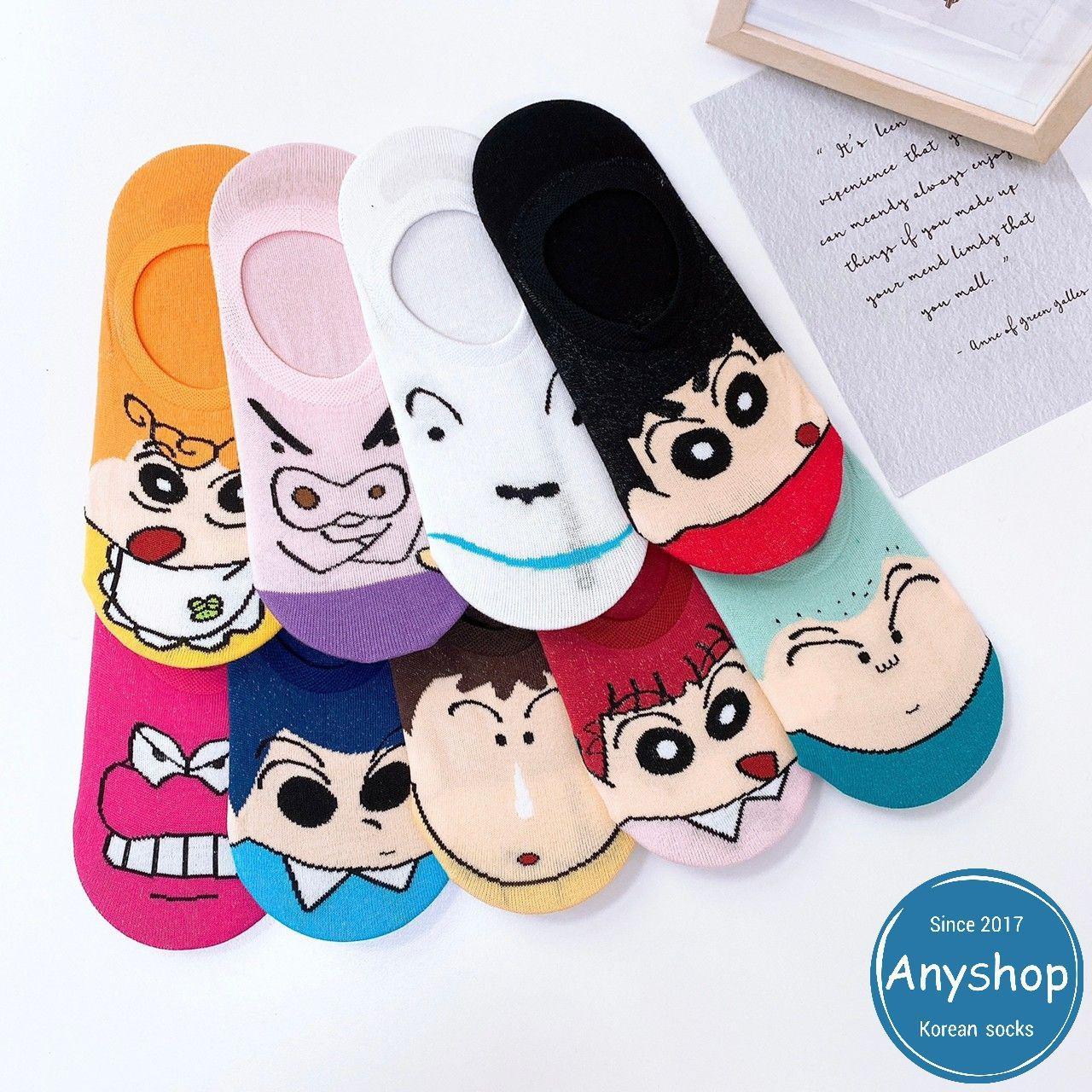 韓國襪-[Anyshop]蠟筆小新人物大臉船形襪
