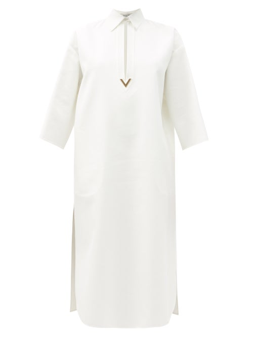 Valentino - V-gold Cotton-blend Midi Dress - Womens - White