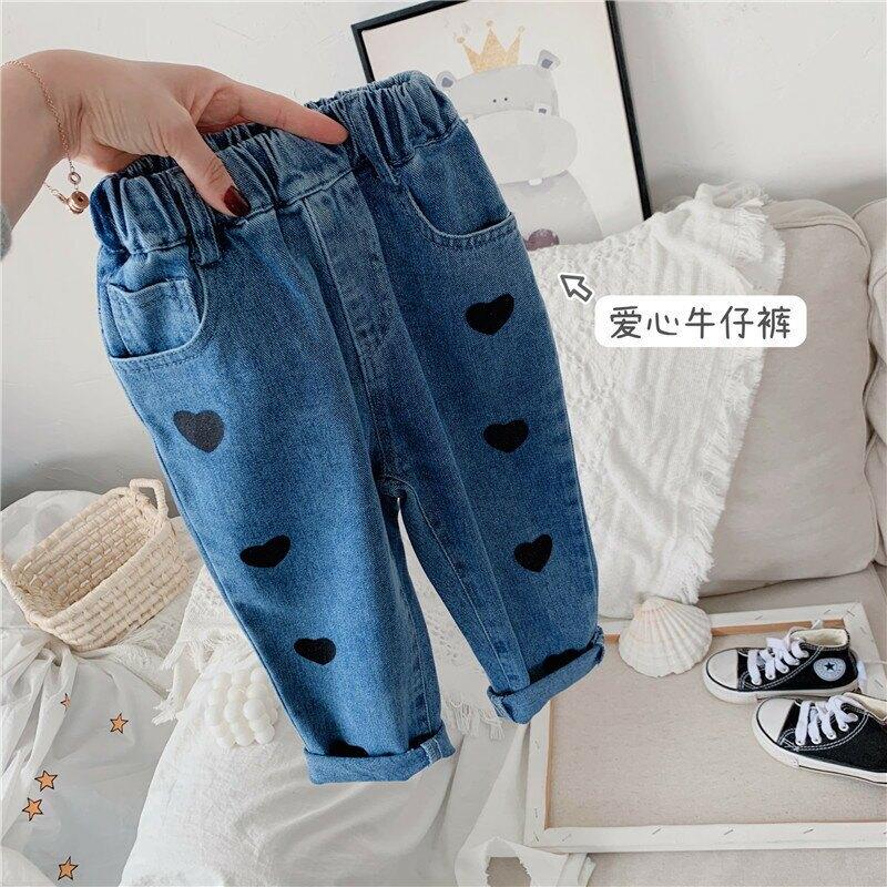 女童印花牛仔褲2021春款韓版網紅女寶寶童褲兒童闊腿褲