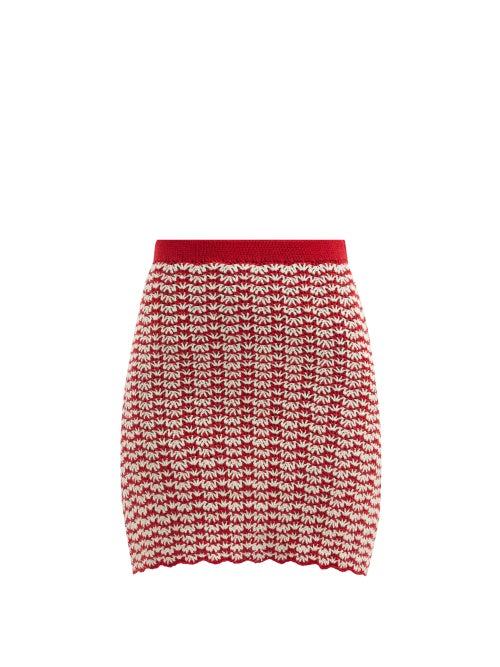 Escvdo - Ana High-rise Hand-crocheted Cotton Mini Skirt - Womens - Red