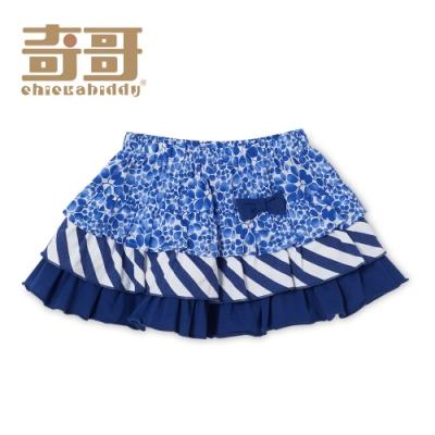 【限時滿額送玩樂劵】奇哥 藍色風情印花蛋糕短裙-藍 (2-5歲)