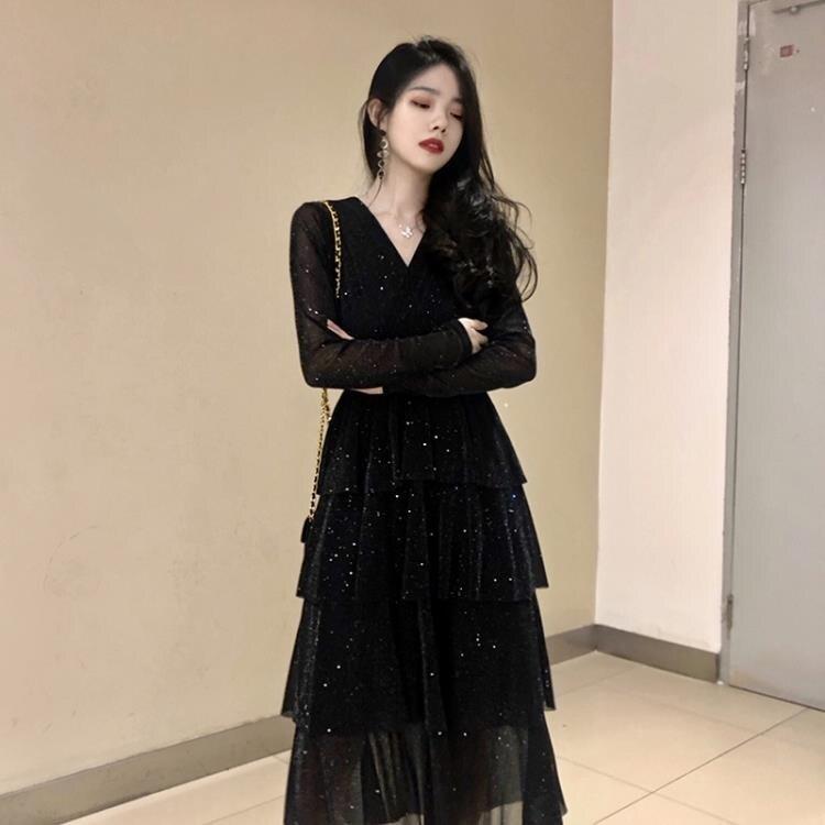 連衣裙 小黑裙晚禮服平時可穿2021年春裝新款小個子連衣裙聚會氣質蛋糕裙