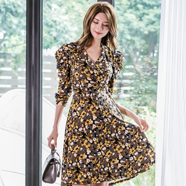 OL洋裝 禮服裙S-XL6211#夏款女士收腰顯瘦印花A字裙韓版時尚系帶連身裙 H506快時尚