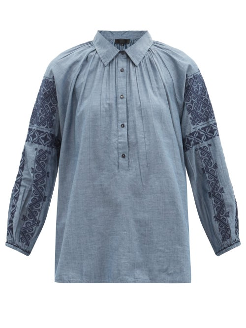 Nili Lotan - Abby Embroidered-sleeve Cotton-chambray Blouse - Womens - Blue