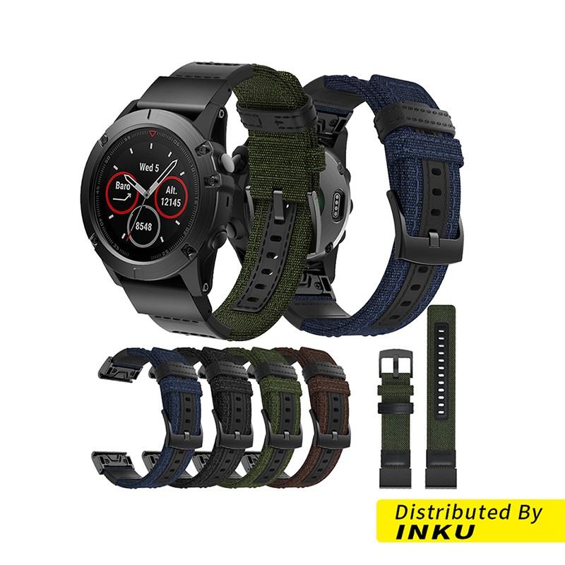Garmin Fenix5 Plus 快拆真皮尼龍帆布錶帶 尼龍錶帶 帆布 真皮 替換錶帶 替換腕帶 佳明 [現貨]
