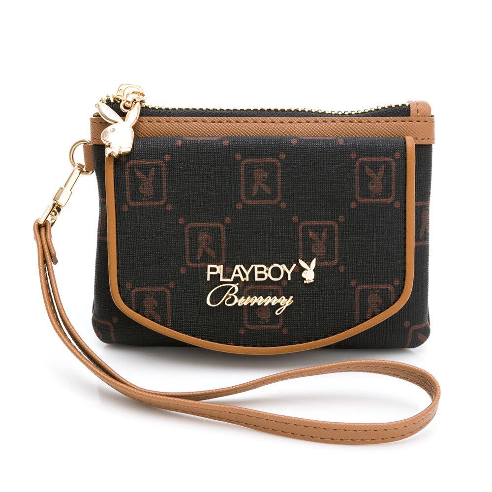 PLAYBOY - 零錢包附手挽帶 焦糖可可系列 - 咖啡色