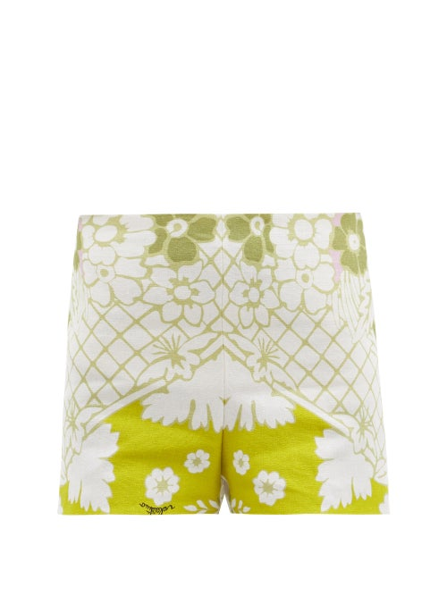 Valentino - Arazzo-print Hemp-canvas Shorts - Womens - Green Multi