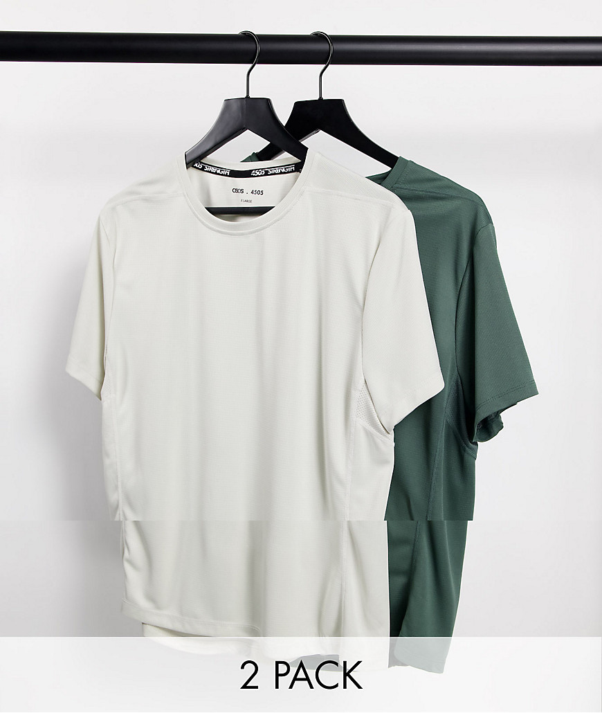 ASOS 4505 icon training t-shirt with quick dry 2 pack SAVE-Multi
