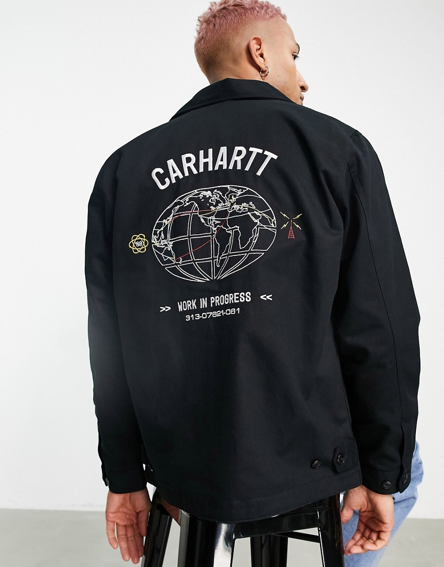 Carhartt WIP cartograph embroidered jacket in black