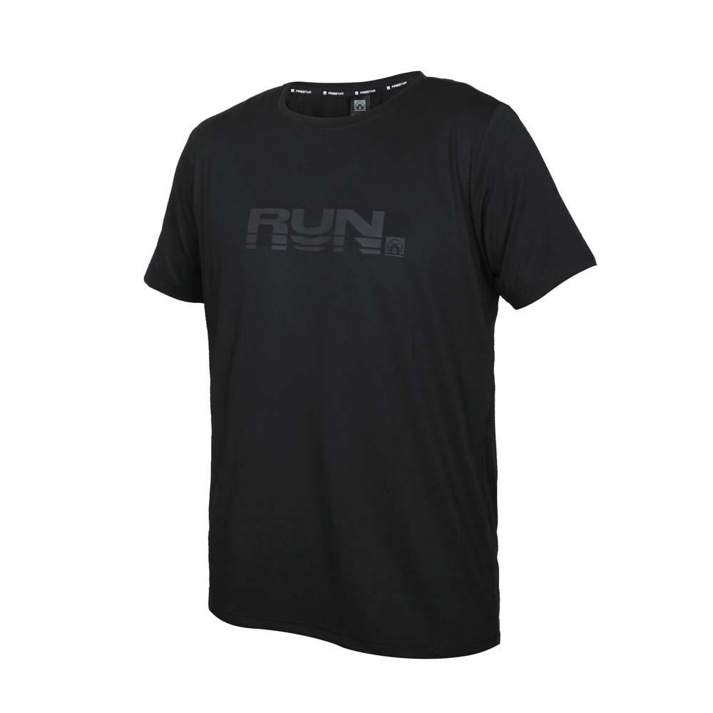 FIRESTAR 男彈性印花圓領短袖T恤-吸濕排汗 慢跑 路跑 運動 上衣 黑灰