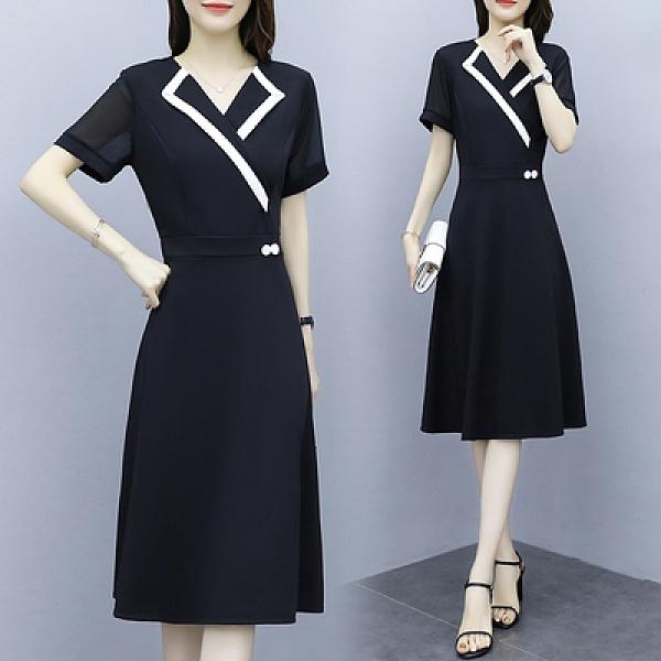 V領洋裝中大尺碼L-5XL夏季新款胖妹妹修身西服領顯瘦中長款連身裙非A025-C.1號公館