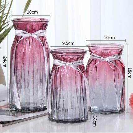 花瓶 北歐玻璃插花瓶透明干花創意客廳插花水養玫瑰百合家用