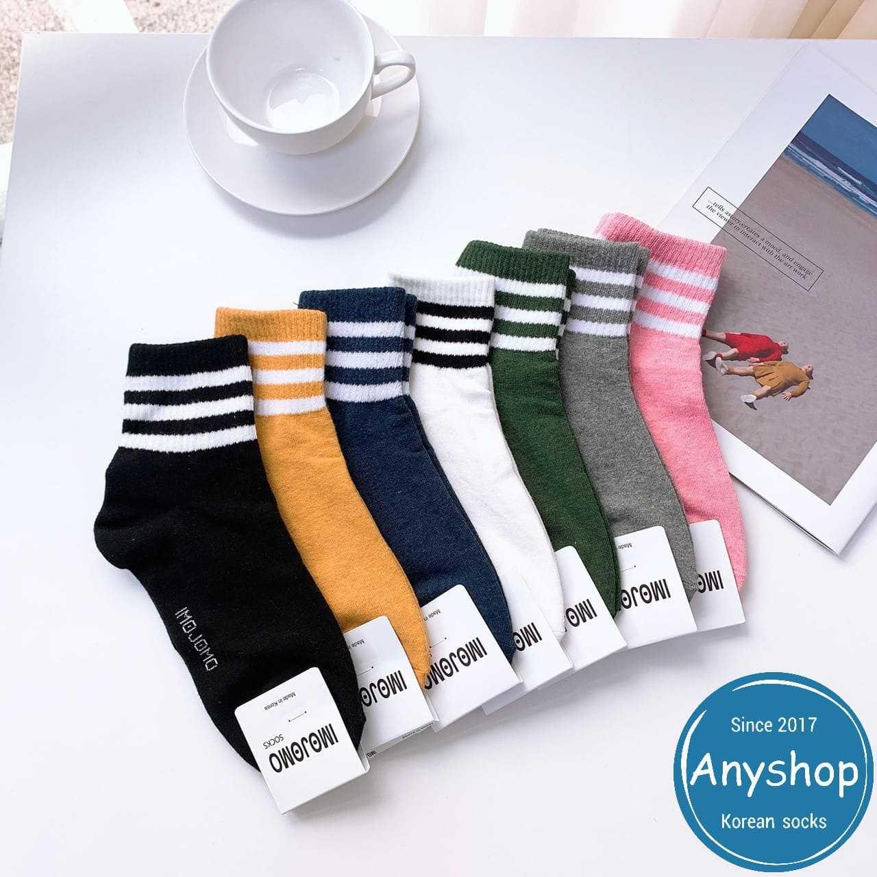 韓國襪-[Anyshop]經典三條紋素色中筒襪