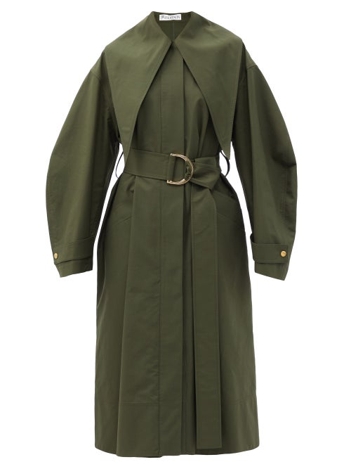 JW Anderson - Exaggerated-collar Belted Cotton Trench Coat - Womens - Khaki