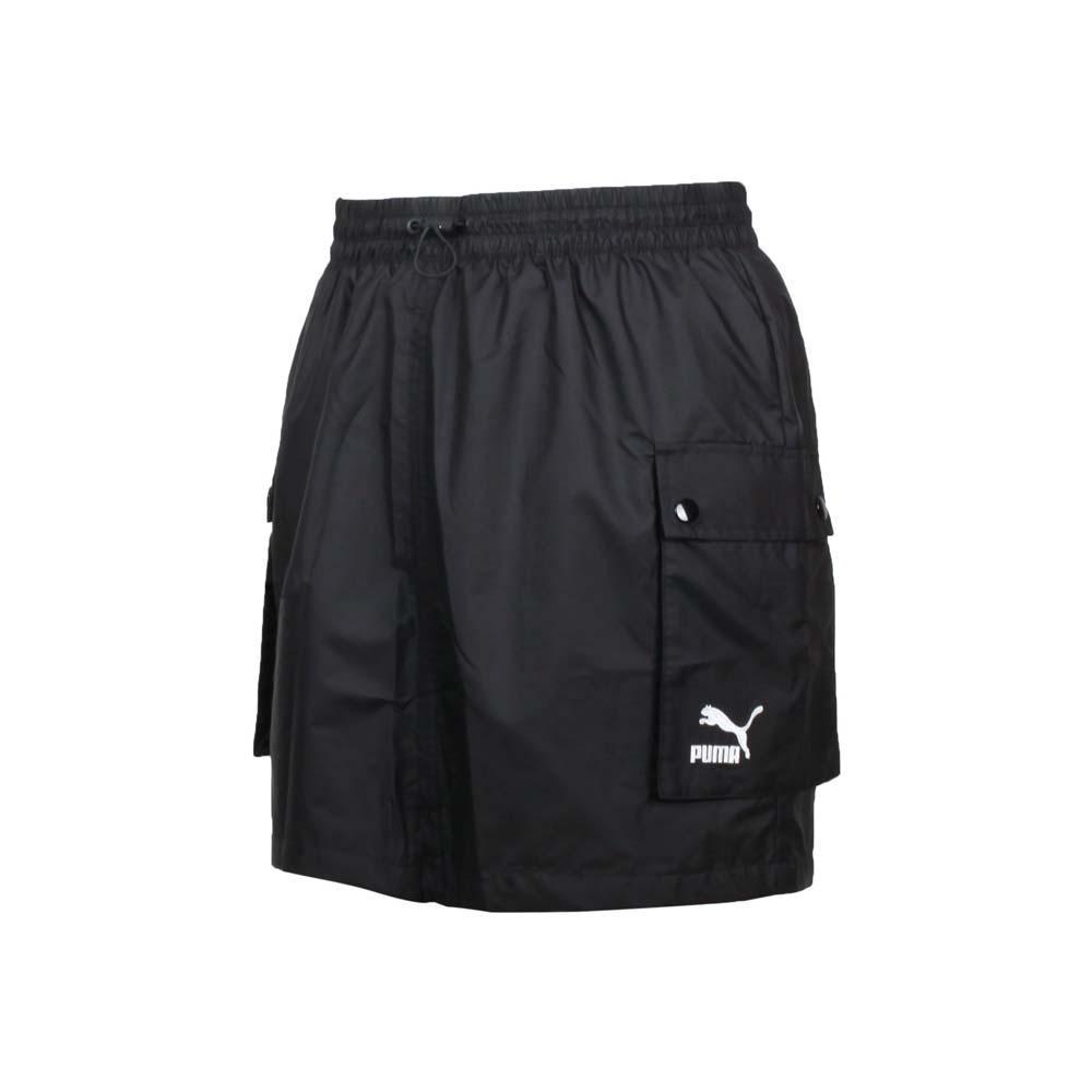 PUMA 女CLASSICS工業風短風裙-歐規 休閒 裙子 五分裙 平織 黑白
