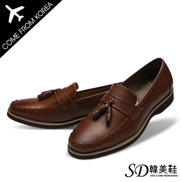 男鞋 韓國空運 經典款造型縫線 嚴選質感皮革 一字流蘇皮鞋樂福鞋【F730399】2色 SD韓美鞋