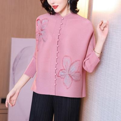 時尚高雅粉色大花精緻布釦皺褶上衣F-糖潮