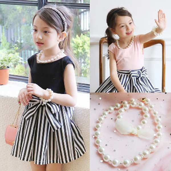 UNICO 韓版 兒童可愛淑女款珍珠項鍊+手鍊