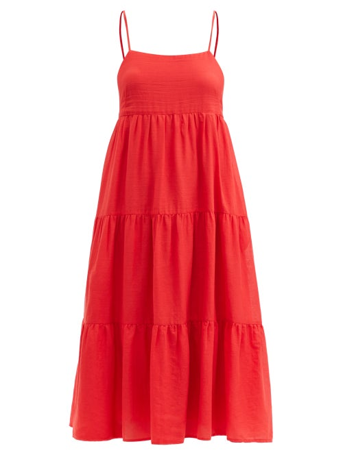 Loup Charmant - Murax Tiered Organic-cotton Voile Dress - Womens - Red