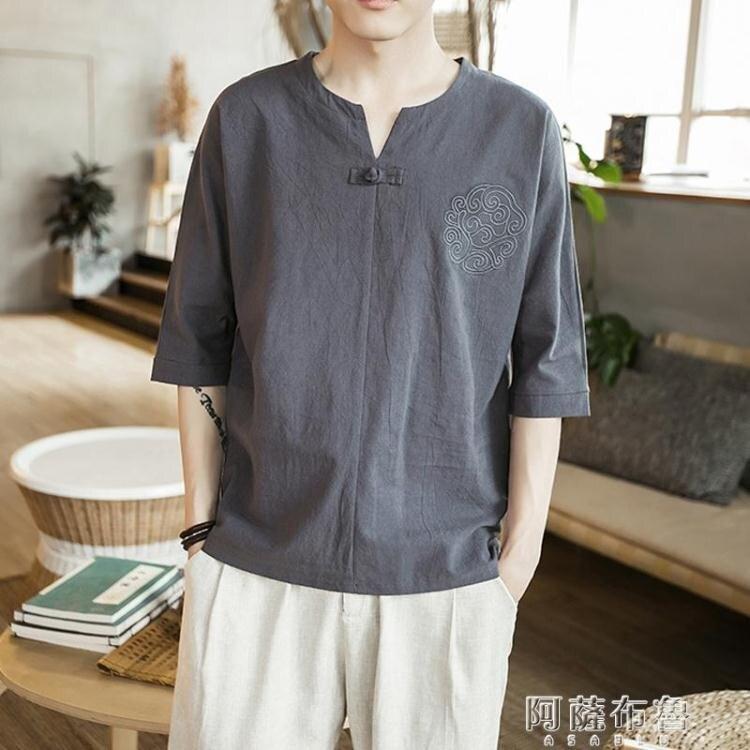 短袖唐裝 中國風t恤男短袖潮牌潮流t袖男裝大碼寬鬆刺繡半袖唐裝漢服上衣服
