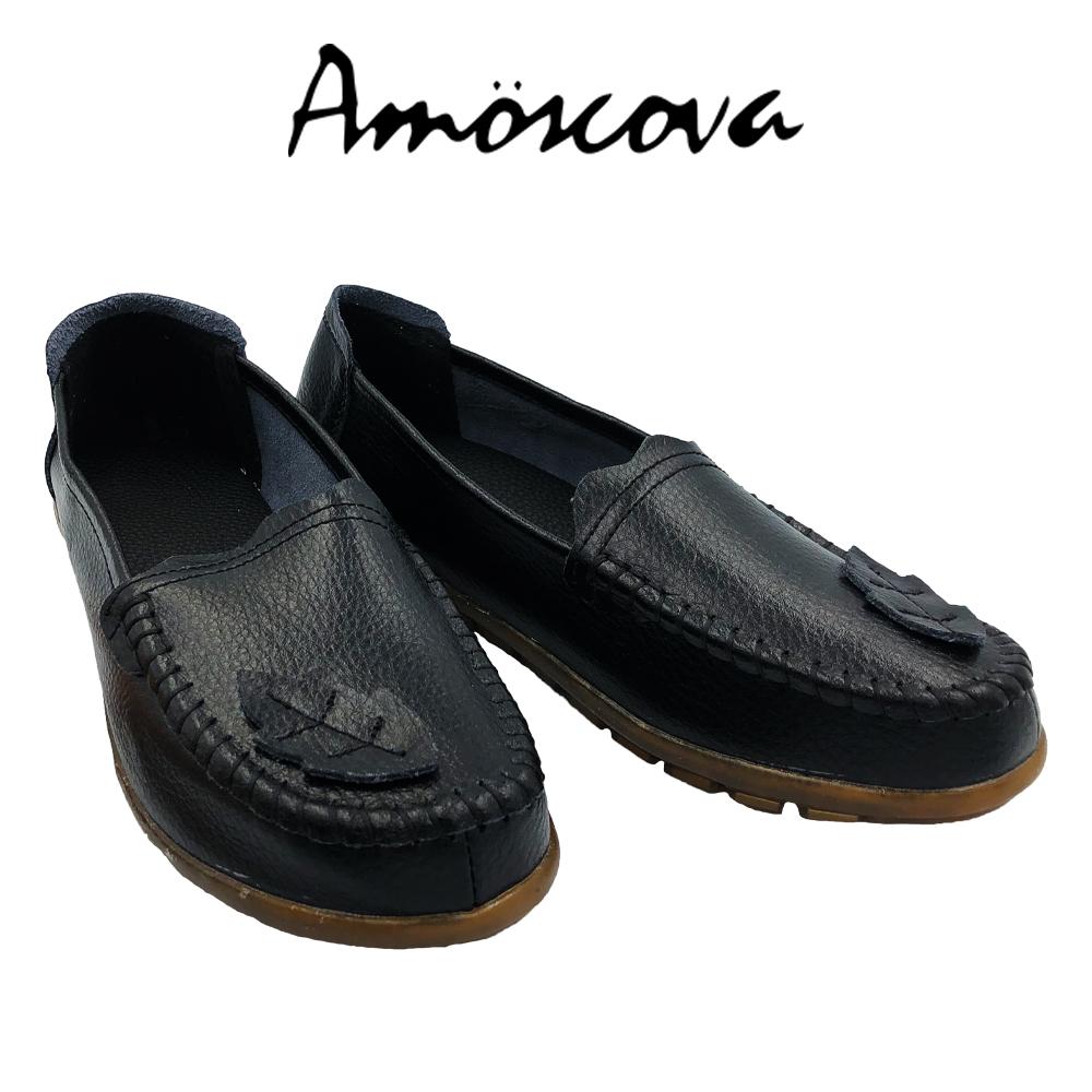 【Amoscova】手工真皮葉片拼布休閒鞋1910-黑色