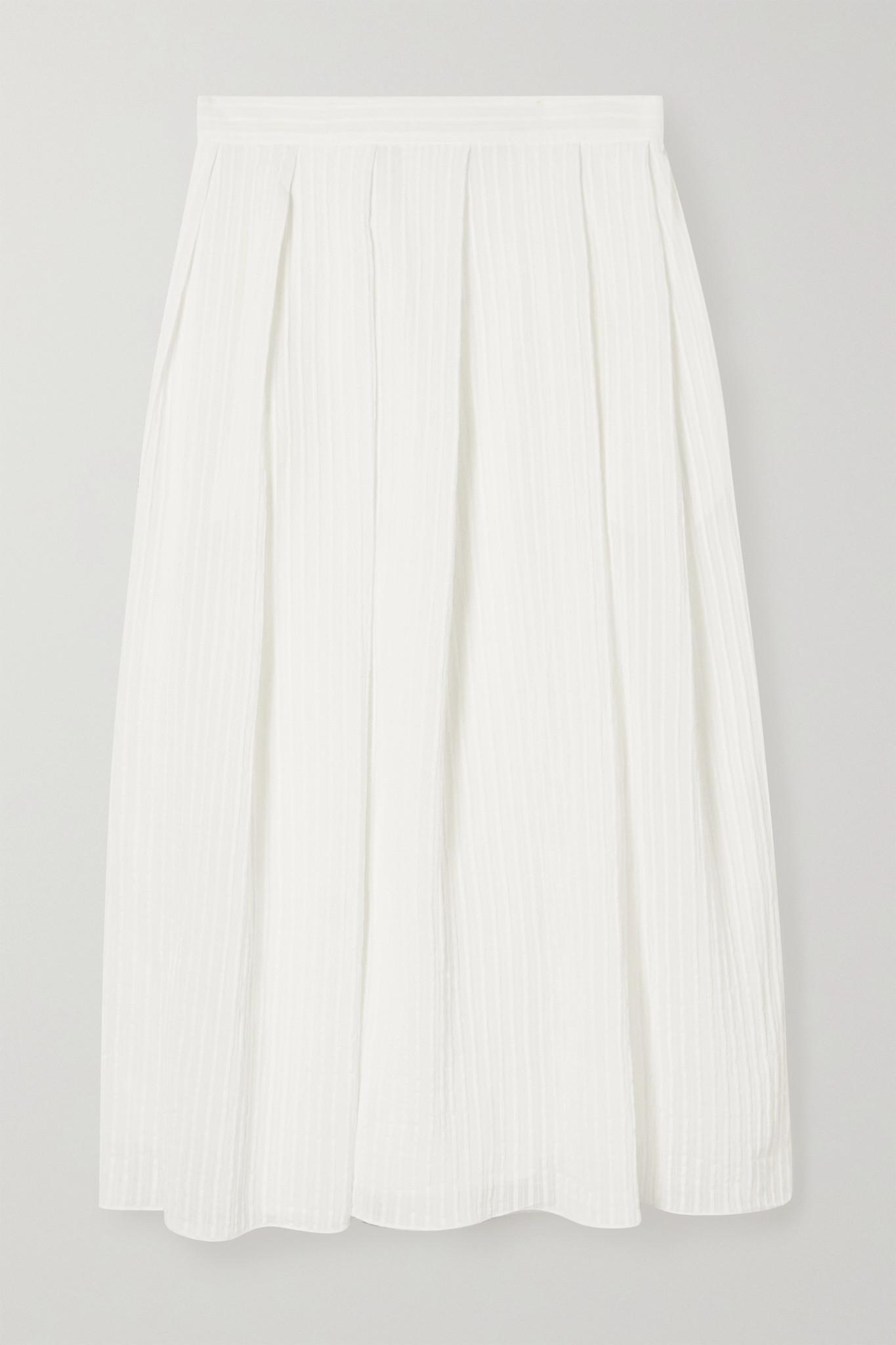 ERDEM - Lavin Pleated Seersucker Midi Skirt - White - UK8