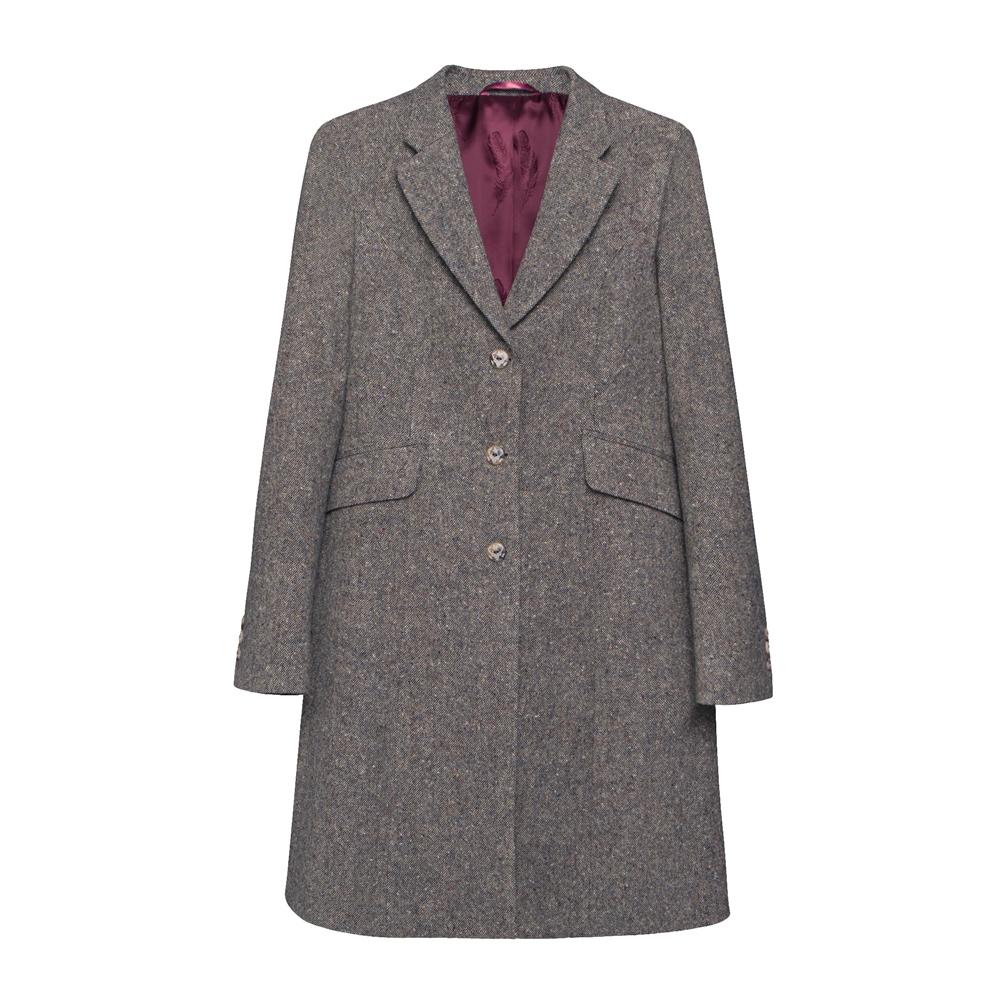 Magee 1866 Grace Donegal Tweed Coat in Navy Salt & Pepper